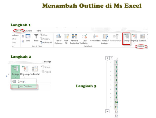 menambah outline di ms excel