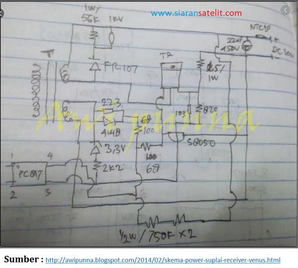 Skema Power Supply Receiver Parabola Venus dan Matrix
