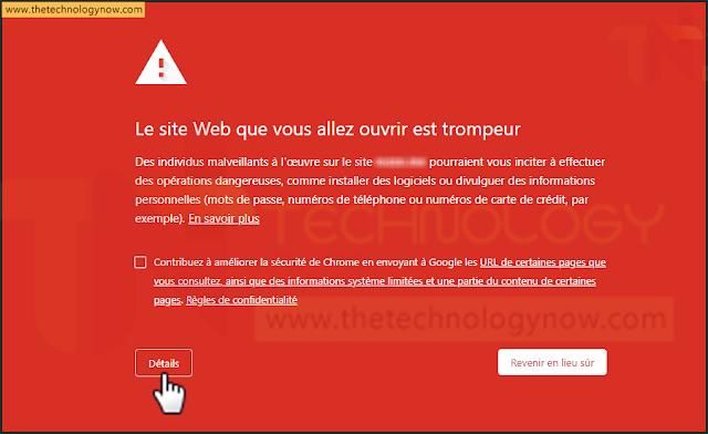 Le site Web que vous allez ouvrir est trompeur