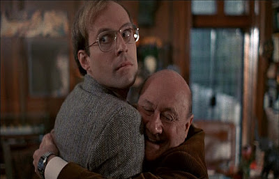 Donald Pleasance hugs Dwight Schultz in Jack Sholder's ALONE IN THE DARK!