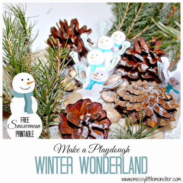 make a playdough winter wonderland, snowman playdough invitation to play.  Sensory small world for toddlers, preschoolers, early years, eyfs