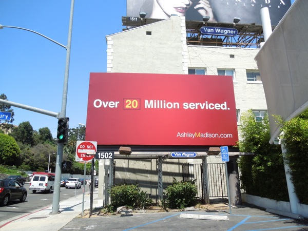 Ashley Madison 20 Million serviced billboard