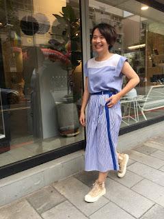 風和日麗條紋及膝裙老幫手實穿