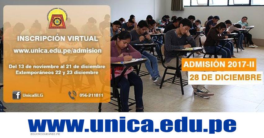 UNICA 2017-2 (Examen Admisión 28 Diciembre) Inscripción Virtual Universidad Nacional San Luis Gonzaga de Ica - www.unica.edu.pe