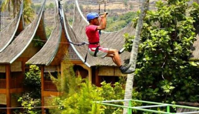 Flying Fox di wisata danau dariza hotel dan resort garut