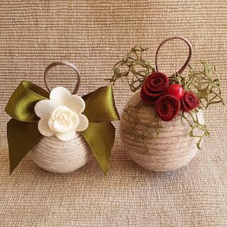 palline natale lana e fiori pannolenci