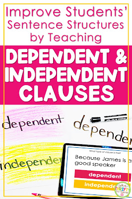 Teaching your students about dependent and independent clauses will help them learn to vary their sentence structures improving their overall writing.