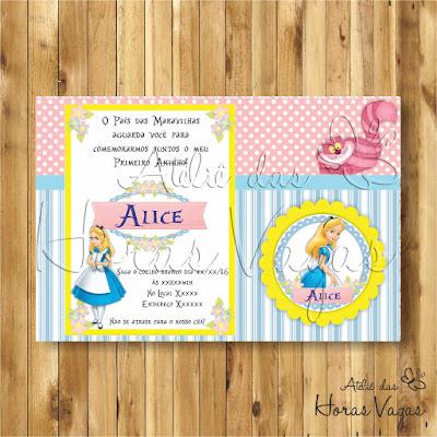 convite digital aniversário infantil personalizado artesanal festa alice no país das maravilhas menina 1 aninho festa chá de fraldas bebê rosa e azul
