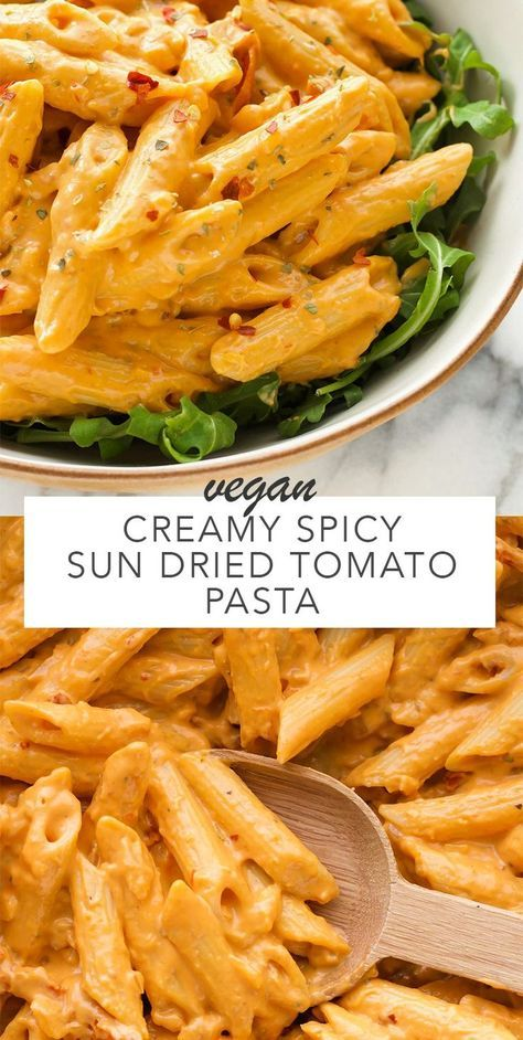 A creamy spicy sun dried tomato sauce that's simple and quick to make. Uses simple ingredients which makes it perfect for a weeknight dinner. Vegan and gluten free when using your favourite gluten…
