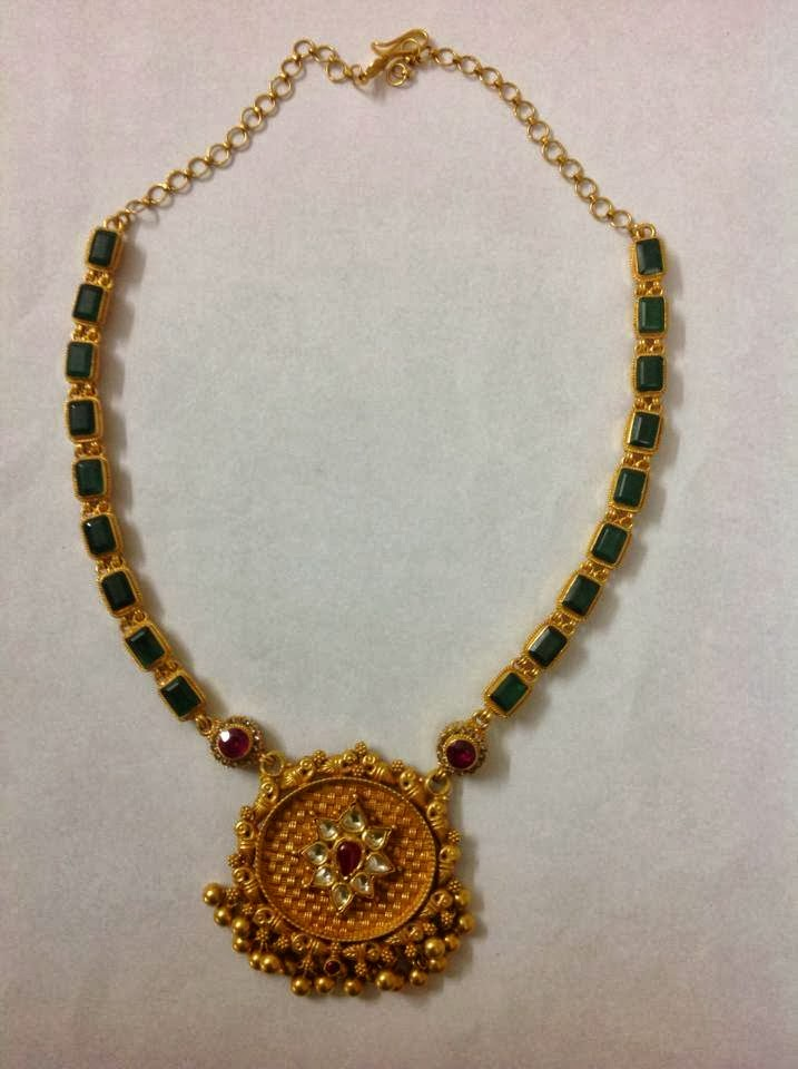 Emerald Necklace With Gold Pendant Indian Jewellery Designs
