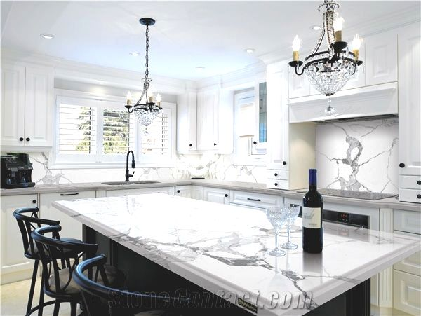quartz master engineered calacatta marble kitchen countertop p b