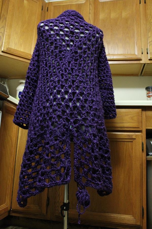 crochet, duster, coat, knee-length, Charisma, yarn
