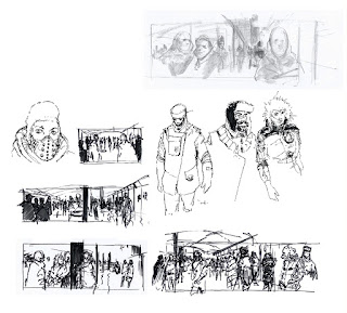 Story board rough sketch of a scene