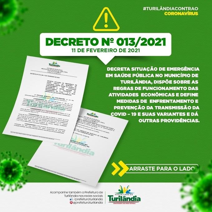 TURILÂNDIA - DECRETO Nº 013/2021 de 11 de fevereiro de 2021