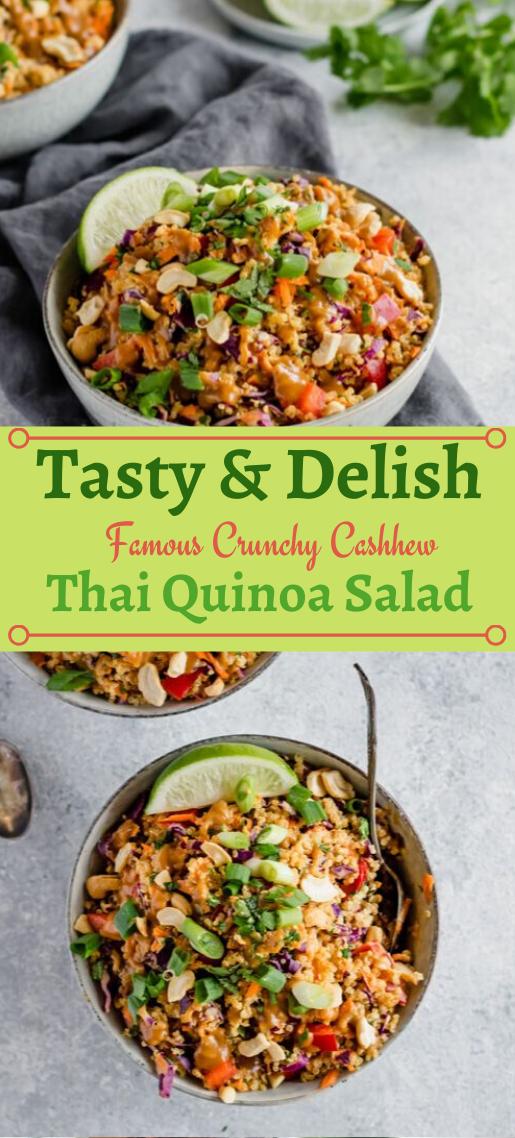 Famous Crunchy Cashew Thai Quinoa Salad #salad #easy #vegetarian #vegan #food