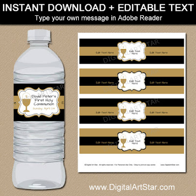 first Holy Communion water bottle labels in black and gold for boy's first Communion