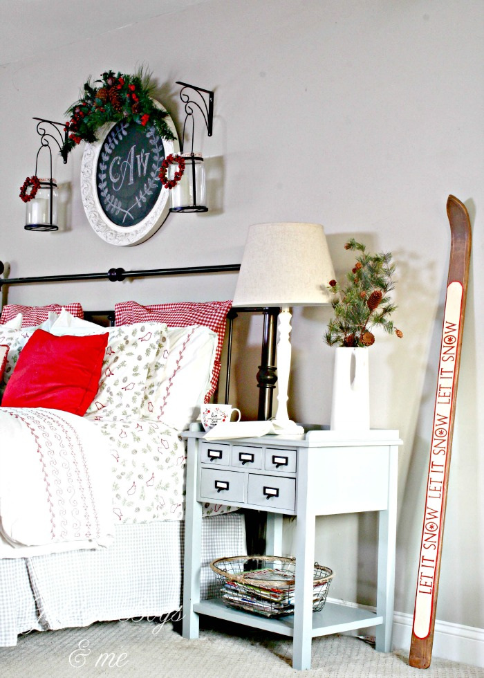 Christmas decor in master bedroom with World Market side table - www.goldenboysandme.com