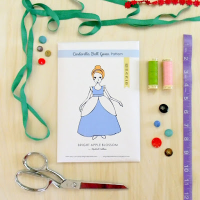 sewing pattern, cinderella illustration, learn to sew