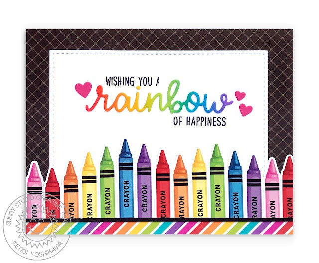 Sunny Studio: Wising You A Rainbow of Happiness Crayon Card (using Color My World & Over The Rainbow Stamps and Rainbow Bright & Classic Sunburst Paper)