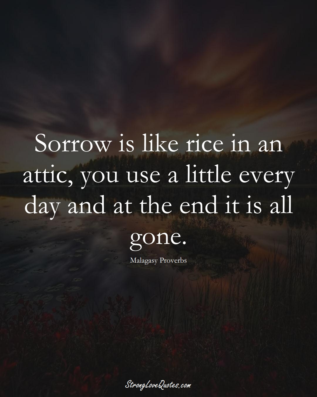 Sorrow is like rice in an attic, you use a little every day and at the end it is all gone. (Malagasy Sayings);  #AfricanSayings