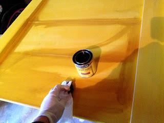 staining a farmhouse headboard