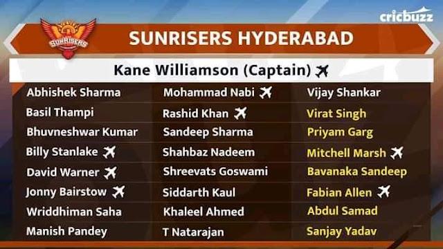 Sunrisers Hyderabad Team Squad IPL 2020 Vivo IPL Auction 2020