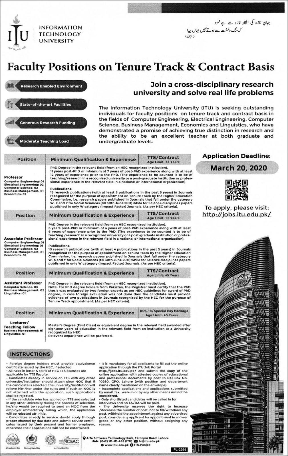 Latest jobs in Information Technology University 2020