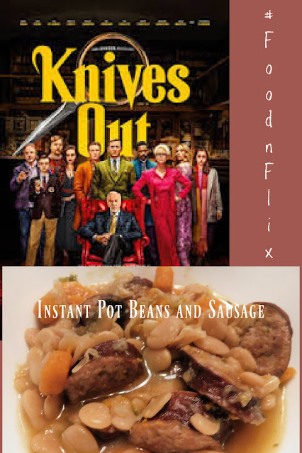 Knives out movie cover with beans and sausage pin
