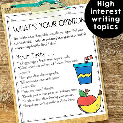 high interest topics for opinion writing upper elementary