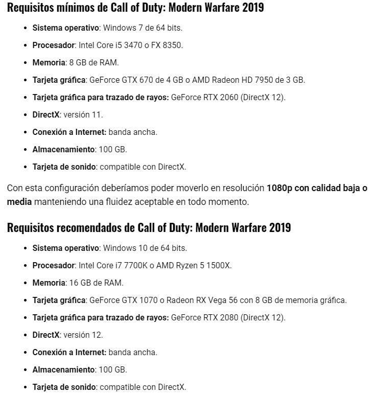 مواصفات ومتطلبات تشغيل لعبة كمول اوف ديوتي الجديد 2019 2020
