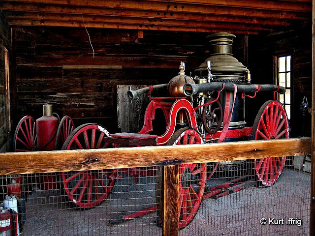 This 1888 Ahrens Steam Fire Engine and many other antique vehicles can be found within the town..