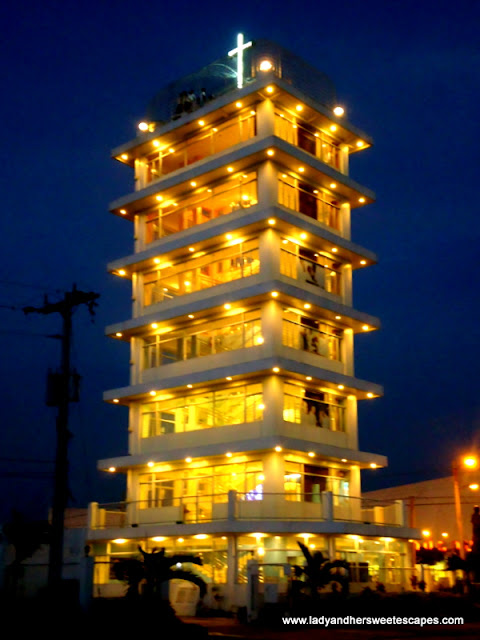 Pope John Paul II Tower at night