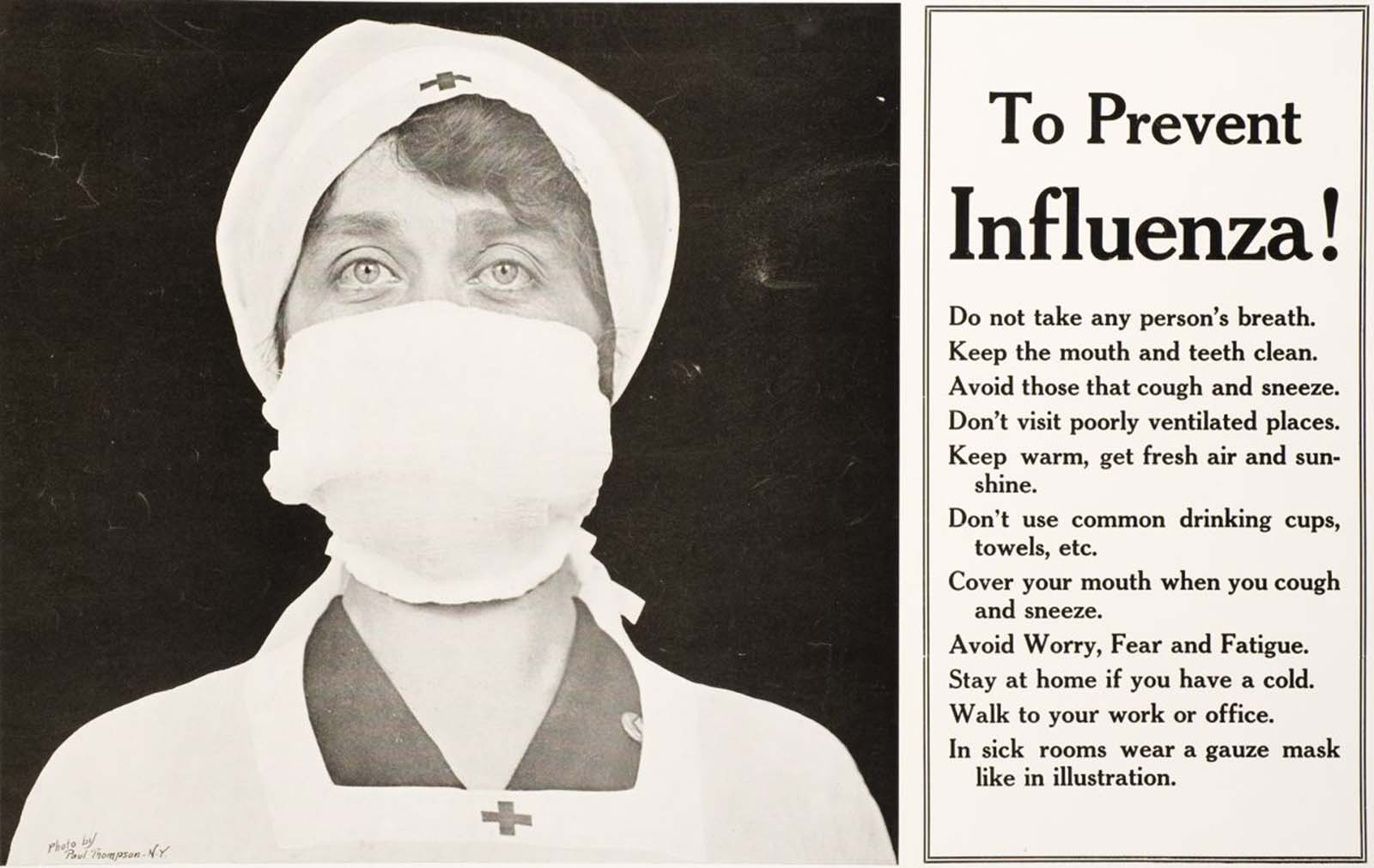 """""""To Prevent Influenza!"""" poster, from Illustrated Current News, 1918."""