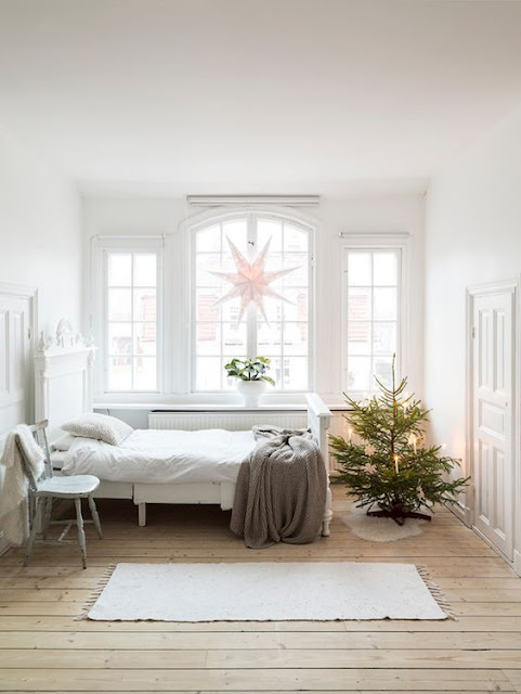 image result for Swedish Farmhouse Christmas Decorating Interior Design bedroom tree