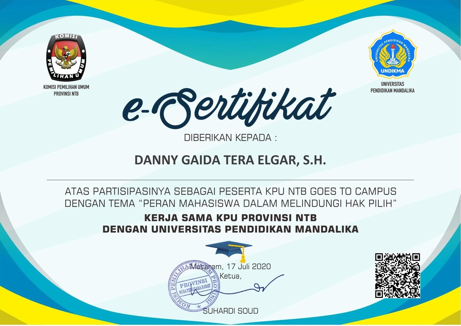 Sertifikat KPU Provinsi Nusa Tenggara Barat (NTB) | Peran Mahasiswa Dalam Melindungi Hak Pilih (JUMAT, 17 JULI 2020)