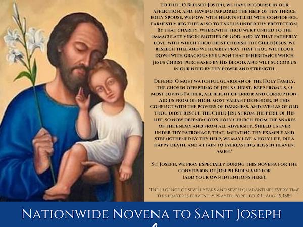 Please Join a Nationwide Novena to Saint Joseph for the Conversion of President Joseph Biden