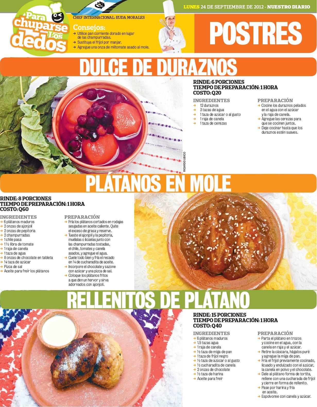 Cocinas y Recetas Postres guatemaltecos