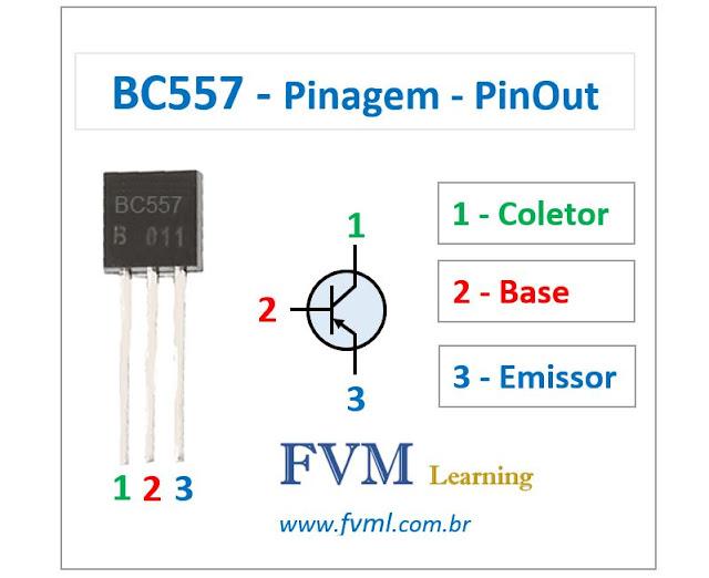 Pinagem - Pinout - Transistor - PNP - BC557 - Características