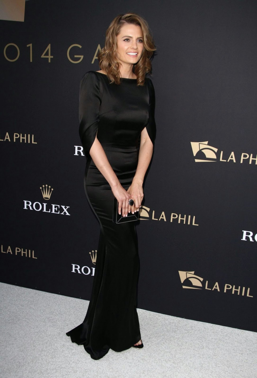 Stana Katic flaunts backless black dress at the LA. Philharmonics Walt Disney Concert Hall Opening