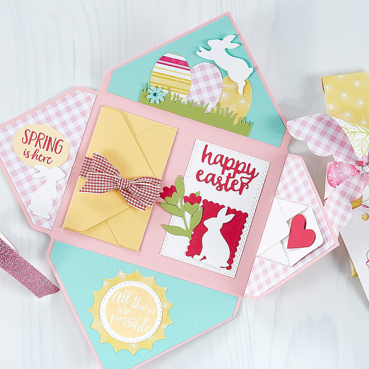 Easter exploding envelope card making idea with die cutting and stamping. Visit my blog for a graduation idea, plus springtime and easter ideas complete with tutorials and lots more photos!