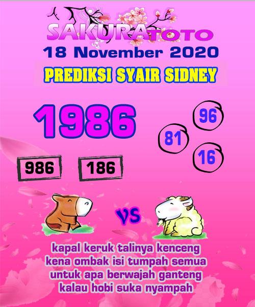 Syair Sakuratoto Sidney Rabu 18 November 2020