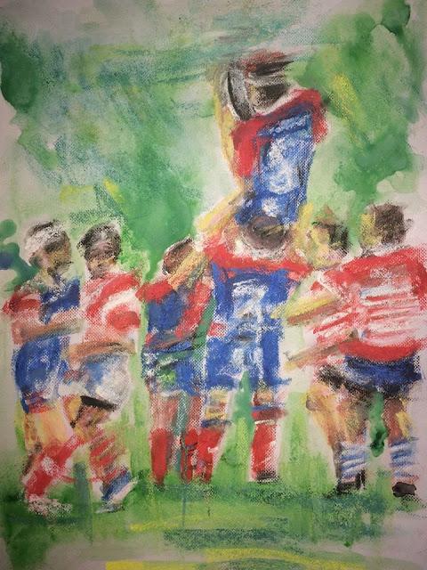 aquarelle rugby à Nontron