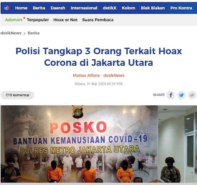 Polisi telah menangkap 3 Orang terkait hoax corona di Jakarta Utara