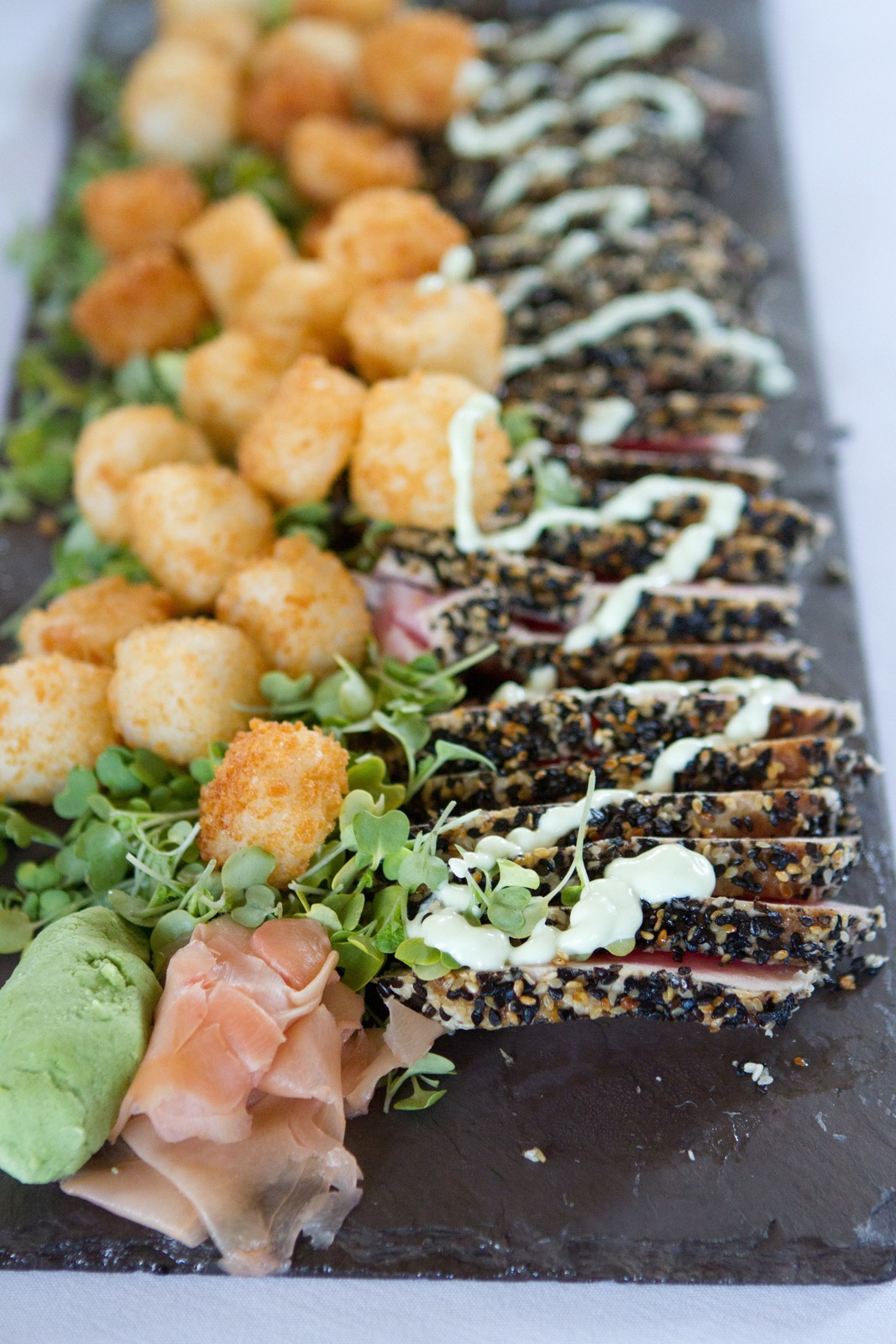 Wedding Brunch Reception - Ahi Tuna Tataki and Mirin Mini Rice Cakes with Wasabi Drizzle and Pickled Ginger - Photo Courtesy of Brian Samuels Photography