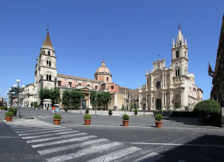 The beautiful cathedral of Saint Peter in Acireale's historic  Piazza Duomo, which sits in the shadow of Mount Etna