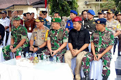 Apel Persiapan Pengamanan Sidang Pengumuman Hasil Pemilihan Umum dihadiri Personel Polda NTB dan Personil TNI wilayah NTB.