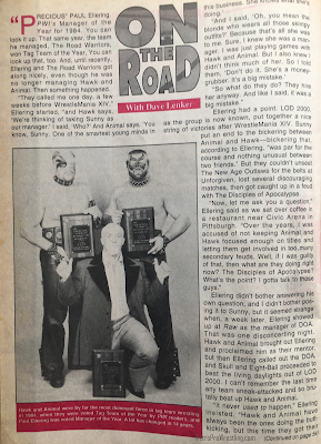Inside Wrestling  - November 1998 - On the Road with Dave Lenker talks about The Road Warriors