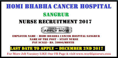 Homi Bhabha Cancer Hospital Sangrur Nurse Walk In November 2017