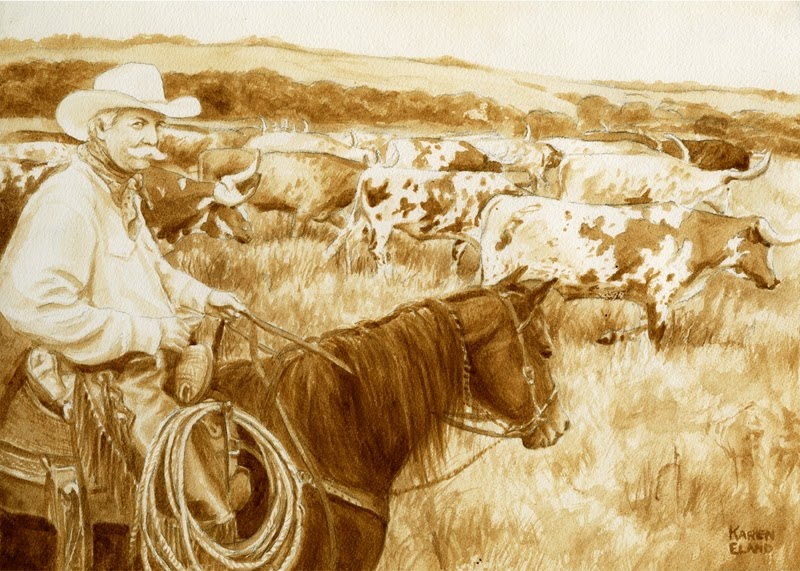 26-Cowboy-Karen Eland-Vintage-Looking-Beer-and-Water-Paintings-www-designstack-co