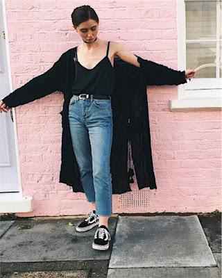 Outfit de invierno kimono negro